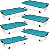 Plastic Storage Boxes Underbed Box Container with wheels and folding lid - 45ltr - Pack of six