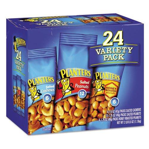 Planters - Variety Pack Peanuts & Cashews, 1.75 Oz/1.5 Oz Bag, 24/Box 884624 (Dmi Ct