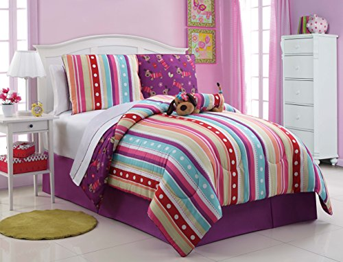 7 Pc Reversible, Girls Dog Comforter Set, Bed In A Bag, Twin Size Bedding, By Plush C Collection