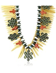 Valliyan By Nitya Portugeusa Collection Ceramic Multi-strands Necklace For Women (Yellow And Green) (VBNNCK05)...