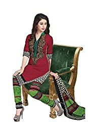 Salwar Studio Red & Multicolor Cotton Dress Material With Dupatta RangResham-1825