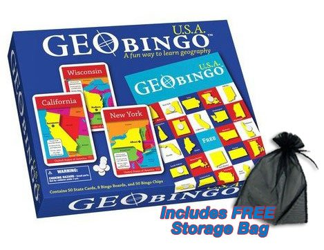 GeoBingo USA Educational Geography Board Game w/Free Storage Bag (Geopuzzle United States compare prices)