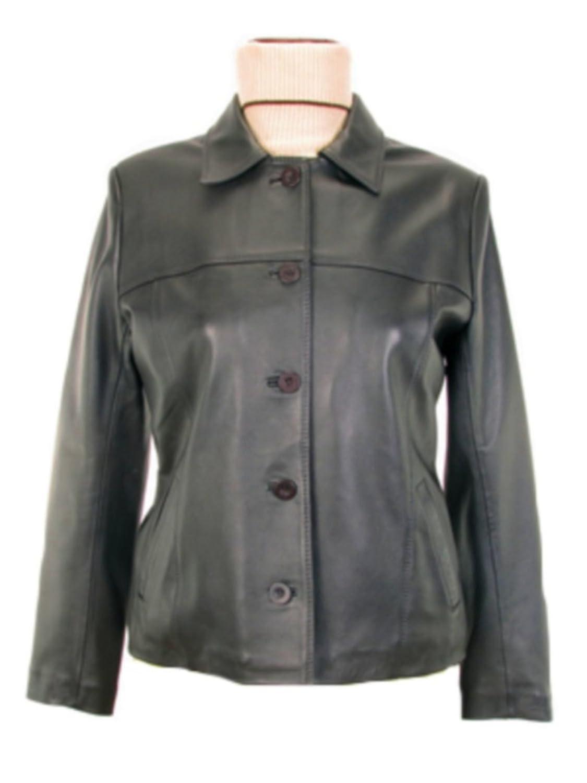 Alpacaandmore Schwarze Damen Lederjacke Lamm Nappa Leder knöpfbar klassischer Stil kaufen