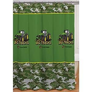 John Deere Shower Curtain Big Tracks Fabric 72