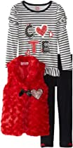 Young Hearts Girls 2-6X 3 Piece Heart Cute Vest Pant Set, Red, 6