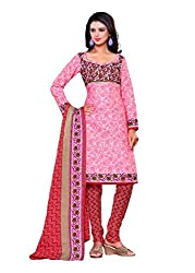 SayShopp Fashion Women's Unstitched Regular Wear Cotton Printed Salwar Suit Dress Material (ZDM-17_Pink,Red_Free Size)