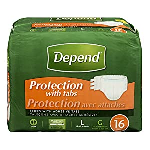 Depend Protection with Tabs Maximum Absorbency, Large, 16 Count