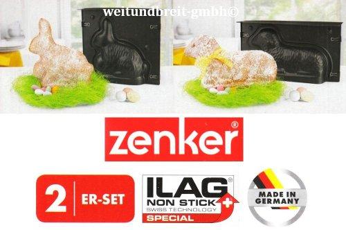 Zenker Oster Backformen 2er Set ILAG Antihaftbeschichtung Hase Lamm 230°C Made in...