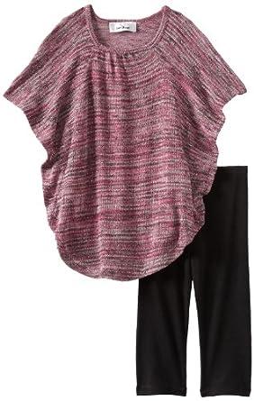 Amy Byer Little Girls' Poncho Legging Set, Pink, 4