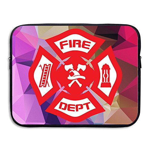 Kamifa Computer Sleeve Double-sided Firefighter Rescue Symbol Zipper Carrying Case Black Size15 Inch