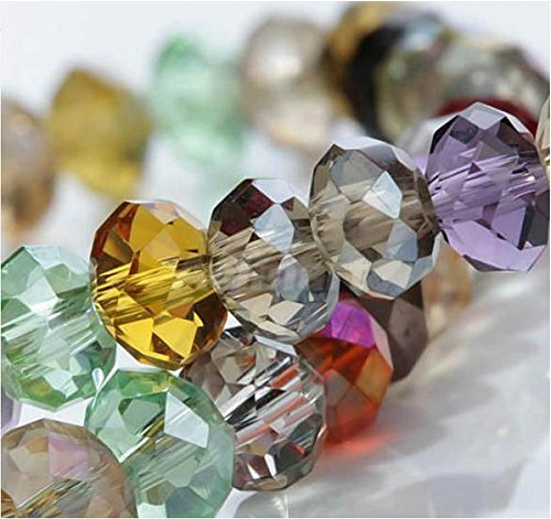 HYBEADS 100per Assorted Top AAA Quality 5040 Assorted Crystal Beads 4mm 6mm 8mm 10mm Faced Glass Beads Crystal Rondelles Bead (6mm) (Glass Bead Supplies compare prices)