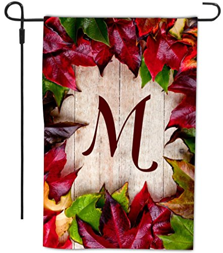 Rikki Knighttm Rikki Knight - Letter M Monogram Initial Rustic Fall Leaves On Wood Flooring Background Design Decorative House Or Garden Flag 12 X 18 Inch Full Bleed (Proudly Made In The Usa) front-557994