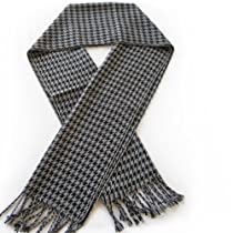 Classic Premium Houndstooth Check Scarf - Different Colors Available, Grey & Black