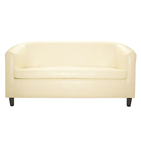 2-Sitzer-Sofa Winston, 160.0x79.0x70.5cm (BxHxT), Sitz creme, Gestell wenge, Sitz Kunstleder, Korpus Birkenholz wenge gebeizt 1 Stuck