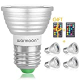 Warmoon Dimmable E26/E27 LED Bulbs,3W RGB Color Changing Spotlight with IR Remote Control Mood Ambiance Lighting for Home Decoration, Bar, Party(Pack of 4)