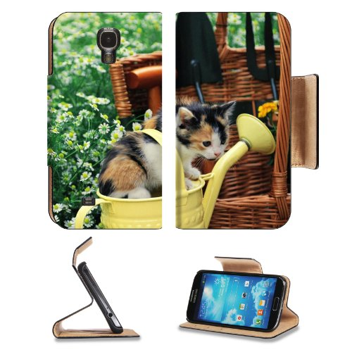 Kitten Watering Can Spotted Sitting Toddler Samsung Galaxy S4 Flip Cover Case With Card Holder Customized Made To Order Support Ready Premium Deluxe Pu Leather 5 Inch (140Mm) X 3 1/4 Inch (80Mm) X 9/16 Inch (14Mm) Liil S Iv S 4 Professional Cases Accessor