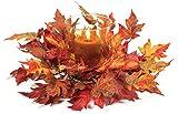 "Thanksgiving Fall Orange & Red Maple Leaf Pillar Candle Holder Centerpiece 17"""
