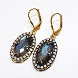 Admyro-Cut Labradorite with Natural CZ 925 Silver Girls Earrings- AZE038