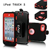 E-LV Full Protection Armor Defender Series Case shell with belt clip holster for iPod Touch 5 5th Generation (Red, Ipod Touch 5) Reviews