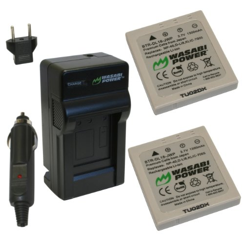 Wasabi Power Battery and Charger Kit for Pentax D-LI8, D-L18 and Pentax Optio A10, A20, A30, A36, A40, E65, L20, S, S4, S4i, S5i, S5n, S5z, S6, S7, SV, SVi, T10, T20, W10, W20, WP, WPi, X