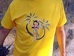 Hand painted T-shirt for a Hawaiian party - with a pattern \