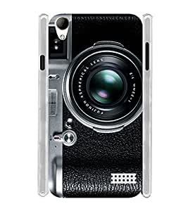 Vintage Black Lens Camera Soft Silicon Rubberized Back Case Cover for Intex Aqua Y2 Ultra