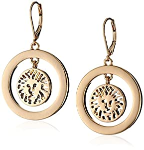 Anne Klein Gold -Tone Plated Logo Lever Drop Earrings