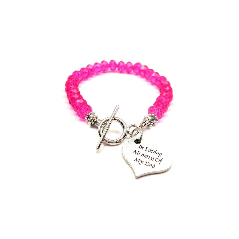 In Loving Memory of My Dad Hot Pink Crystal Beaded Toggle Bracelet ChubbyChicoCharms Jewelry