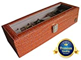 UsefulThingy Leather Watch Box for Men or Women, Display Case for 6 Watches-PU Leather Crocodile Design