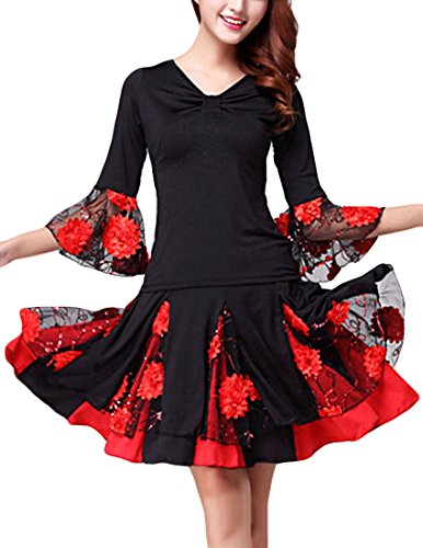 MFrannie Women's Latin Dance Floral Dress Costume Suit Set Top and Skirt Black Red XL (Latin Dancing Costume Patterns)