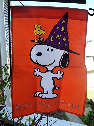 Little Witches Snoopy & Woodstock .. HAPPY HALLOWEEN! .. Peanuts One Sided Garden Decorative Flag 12