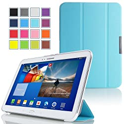 MoKo Samsung Galaxy Tab 3 10.1 Case - Ultra Slim Lightweight Smart-shell Stand Case for Samsung Galaxy Tab 3 10.1 Inch GT-P5200 / GT-P5210 Android Tablet Light BLUE (with Smart Auto Wake / Sleep Feature)
