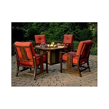 Superb RATTAN PATIO OUTDOOR FURNITURE SET W PROPANE FIREPIT RED CUSHIONS W ALUMINUM ROCKING CHAIRS PATIO SET ON SALE ENJOY DINING ALL NIGHT NEXT TO YOUR COZY