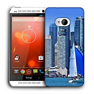 Snoogg White And Blue Boat Printed Protective Phone Back Case Cover For HTC One M7