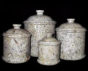 Tan Coral Marble Kitchen Canisters Set Of 4 Extra Large Kitchen Dining