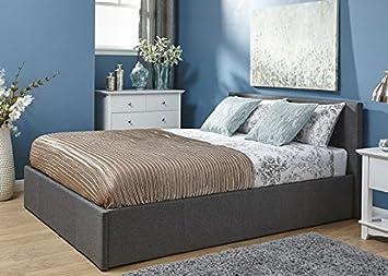 4FT Ende Lift Ottoman Silber Grau Kleines Doppelbett Stoff Ende Lift Up Bett mit Stauraum
