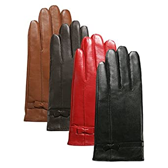 Luxury Lane Women's Cashmere Lined Leather Gloves with Bow - Black Medium