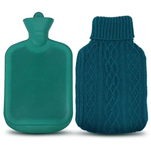 AZMED Classic Hot Water Bottle Made of Premium Rubber, Ideal for Quick Pain Relief and Comfort, Knitted Bottle Cover Included, 2 Liters, Green (Hot Water Bottle For Pain compare prices)
