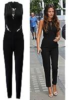 Janisramone Womens Ladies Celebrity Michelle Keegan Lace Mesh Insert All in One Black Sleeveless Jumpsuit Dress