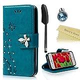 Mavis's Diary iPhone5/5s/SE対応ケース レザー素材 防塵 耐久性 装着やすい スタンド 手帳型 吸着の機能 胡蝶 優雅な花 ブルー