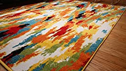 Radiance ant6001_6x8 Art Collection Contemporary Modern Splat Wool Area Rug, 5\'2 x 7\'3, Multicolor