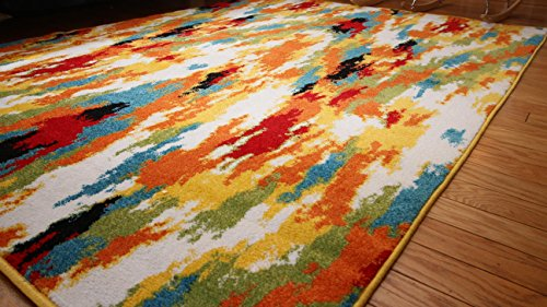 Radiance Art Collection Contemporary Modern Splat Yellow Blue Orange White Wool Area Rug Rugs 6001 5'2 x 7'3
