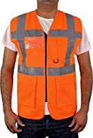 HiVis High Visibility Executive Work Safety Zip Vest Pocket waistcoat Size S-4XL