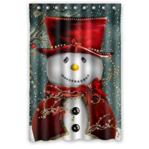 48 W X72 H Inch Waterproof Bathroom Christmas Snowman Shower Curtain Home Kitchen