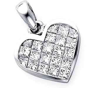 14K White Gold Diamond Pendant, Diamond Invisible Setting Heart Pendant
