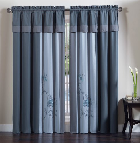 Chezmoi Collection 4-Piece Embroidered Floral Window Curtain Set With Tassels, Gray Blue front-5132