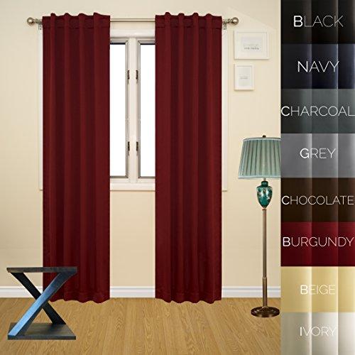 Prestige Home Fashion Thermal Insulated Blackout Curtain - Back Tab / Rod Pocket - Burgundy - 38