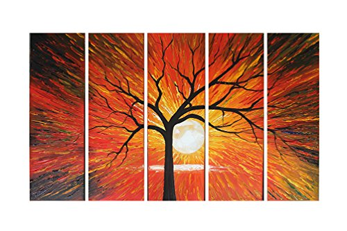 Ode-Rin Hand Sketching Living Room Shinning Sun Set Hot Positive Energy Warm Feel Canvas Oil Paintings Wood Framed Wall Art for Home Resturant Decoration (Sunset Oil Painting compare prices)