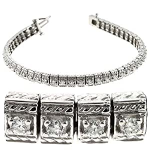 14k White Antique-Style 2.2 Ct Diamond Bracelet - JewelryWeb