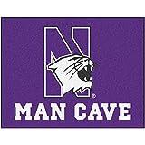 "NCAA Northwestern University Man Cave All-Star Mat, 34"" X 45""/Small, Black"